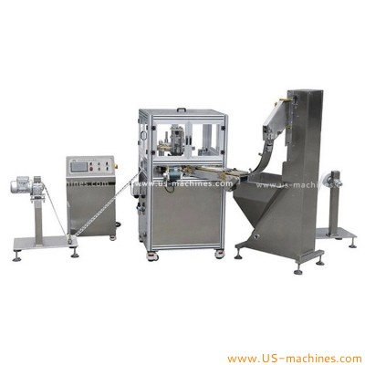 Automatic aluminum film roll cutting wad inserting cap assebling machine rotary high speed cap wadding lining machine with film roll feeding system