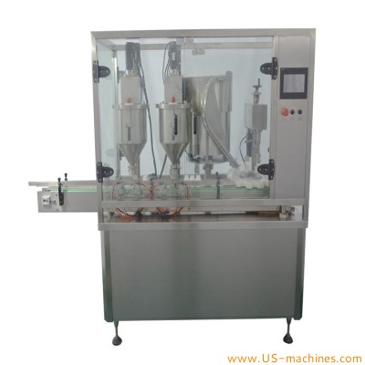 Automatic plastic bottle jar double heads powder filling capping machine with cap vibrating feeder bowl dual filler station