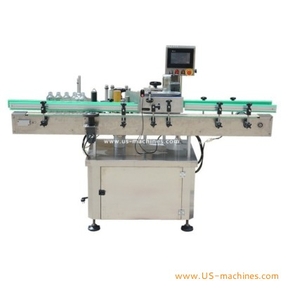 Automatic adhesive stickers round bottle high speed rolling labeling machine food bottle can jar label applicator line
