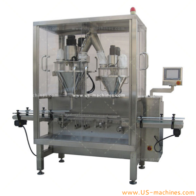 Automatic 100-2000g double nozzles powder filling machine milk powder protein powder medicine cosmetic powder twice filling high accuracy powder filler line for bottles tins cans
