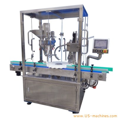 Automatic glass bottle powder filling ROPP sealing machine rotary medical health product bottle filling sealing labeling line
