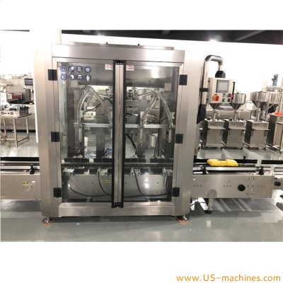 Automatic 4 nozzles 5L-30L barrel bucket pail bottle oil filling capping machine 20L big barrel edible oil gear lub oil filling capping line