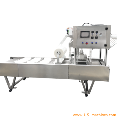 Automatic plastic tray box case film heat sealing packing machine with 4 lanes