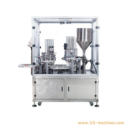 Automatic double nozzles cup pod capsule milk yogurt filling sealing machine rotary cup packing equipment