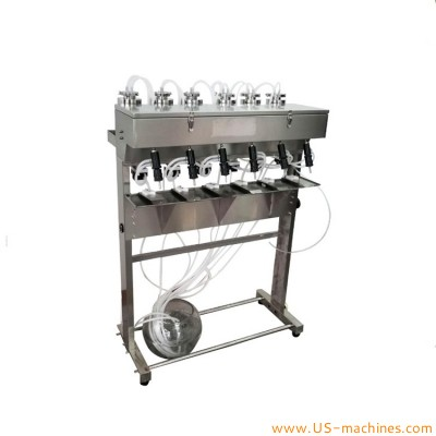 Semi automatic vacuum pump negative pressure perfume bottle filling machine with 6 nozzles