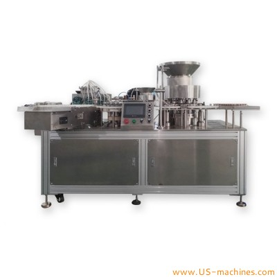Automatic all in one liquid solution powder ampoule bottle small dose filling crimping sealing packing machine