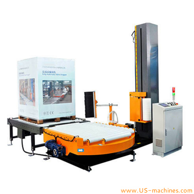 Automatic shipping cargo pallet stretch film wrapping packing machine with conveyor pallet film wrapping packing equipment