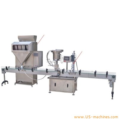Automatic granule material bottle filling capping machine filling capping line
