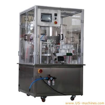 Automatic rotary cup pod yogurt milk cup rotary filling sealing machine cup pre cut lid heat sealing machine