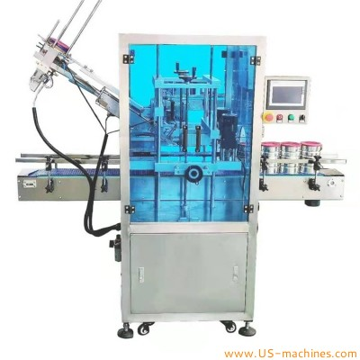 Automatic dust proof plastic lid press lid sealing machine snap soft cover lid capping machine for powder can food bottle