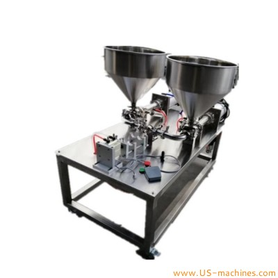 Semi automatic twins tubes two materials filling machine sealant resin high viscosity materials twin catridge filling machine with double nozzles