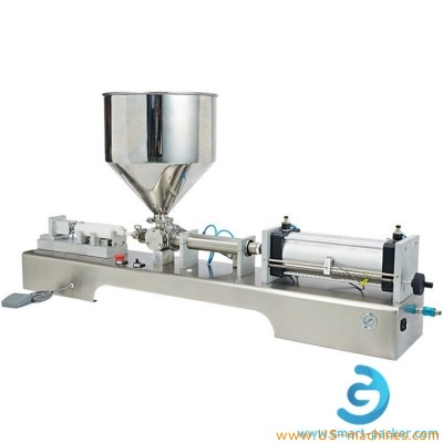 Semi automatic twins tubes filling machine with single nozzle