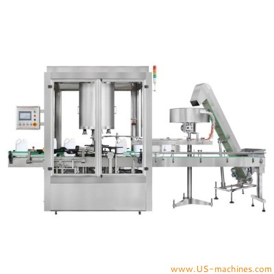Automatic rotary bottle twist capping machine with cap feeding machine