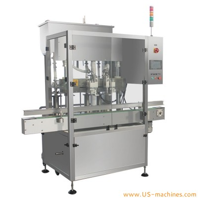 Automatic 2 nozzles tracking type bottle filling machine continuous moving filling nozzles filling line