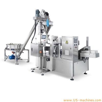 Automatic premade bag powder filling sealing machine 8 station powder given bag rotary filling sealing machine