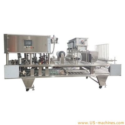 Automatic linear type big cup bowl container filling sealing machine