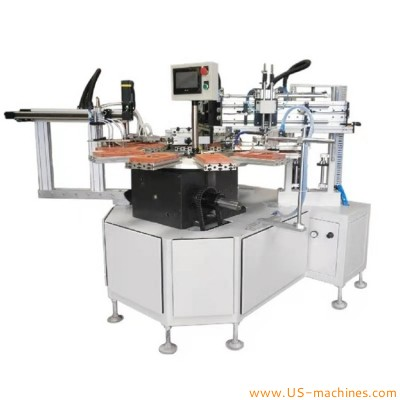 Semi automatic turntable type two color silk screen printing machine