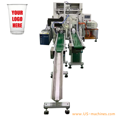 Automatic cup tumbler screen printing machine with feeding conveyor